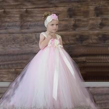 2016 blume mädchen kleider tüll rosa elfenbein tutu kleinkind pageant kleid blumen vestido longo kinder prom kleider