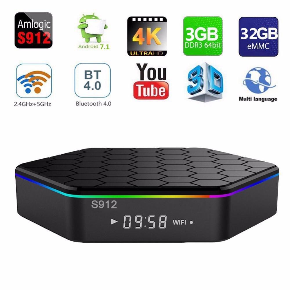 T95Z Plus Smart TV BOX Android 7.1 2GB/3GB 16GB/32GB Amlogic S912 Octa Core 2.4G/5GHz WiFi BT4.0 4K pk mini m8s pro H96 мобильный телефон lg g flex 2 h959 5 5 13 32 gb 2 gb gps wcdma wifi
