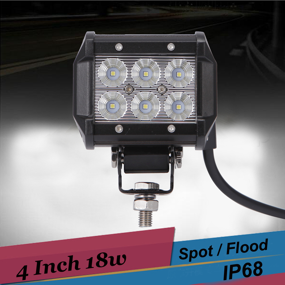 4 Inch 18W Spot Flood LED Light Bar 4x4 Offroad Work Light Truck SUV UTE Boat 4WD ATV Car Driving Fog Light Motorcycle Headlight