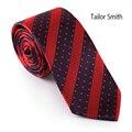 Alfaiate Smith Dos Homens da Qualidade Superior de Microfibra Tecido Jacquard Gravata de Bolinhas Vermelho Listrado Designer Skinny Tie Gravatas de Negócios