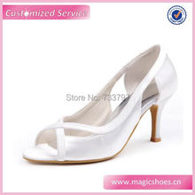 Wedopusสีขาวส้นรองเท้าเจ้าสาวผู้หญิงส้นผ้าซาตินสีขาวชุดแต่งงานปั๊มDropship