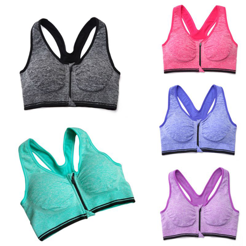 Sexy Women Yoga Running Fitness Stretch Seamless Tank Top Front Zip Racerback Female Cotton Sports Bra Sleep Crop Top P2