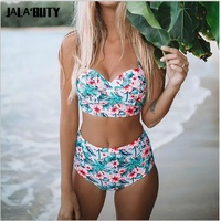 High Waist Bikinis Plus Size Swimsuit Women 2 Piece Bathing Suit Floral Print Thong Bikinis Separate Swimwear for Big Breasts