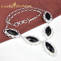 Newest Fashion Women Jewelry Charm Amethyst Crystal Silver Chain Necklace