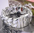 Europe Fashion Men wide lock bracelet Punk style Silver bangles