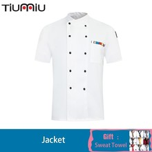 Chef Jacket Summer Uniform Kitchen Hotel Wholesale Fast Food Restaurant Milk Tea Bakery Chaquetilla  Work Clothes Print Logo