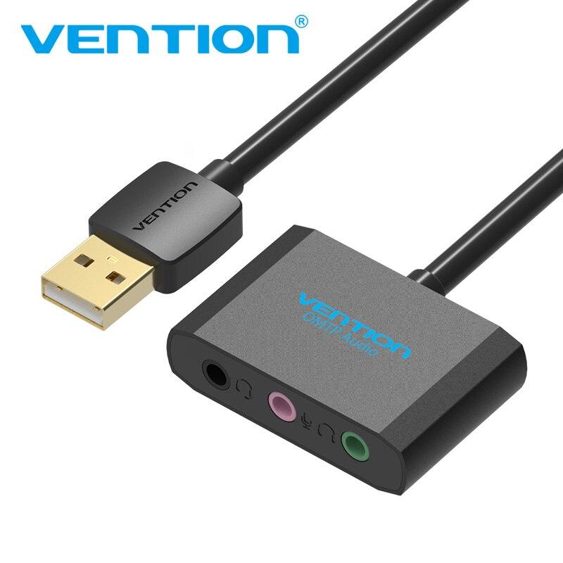 Venção USB Placa de Som Placa De Áudio Externo Placa de Som USB Adaptador USB para Fone de Ouvido Fone De Ouvido de 3.5mm Para Microfone Portátil computador