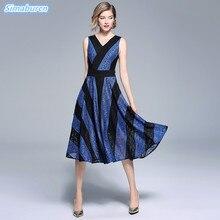 New Arrivals Summer Long Dress Women V Neck Sexy Lace Sleeveless Dresses Female Streetwear Casual Blue Vestidos 2018