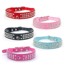 1pcs 3 Row Bling Rhinestone Puppy Dog Collars Personalized Small Medium Large Dogs Collar Neck Strap Adjustable Accessories