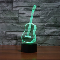 Trecaan New Guitar 3D Lights Colorful Touch LED Visual Lights Creative Gift Atmosphere Lamp