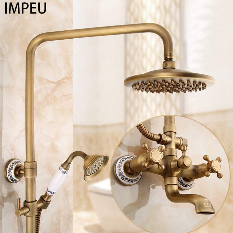 Exposed Rain Shower System With Cross Handles, Cold / Hot Water Mixer, Antique Brass, Coming With Hand Shower, Overhead, Spout