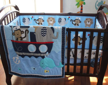 цена на 9 Pcs Boy Baby Bedding Set Animal Sea Boat Nursery Quilt Bumper Sheet Crib Skirt Baby Bedding Set Baby Bed Crib Set