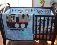 9 Pcs Boy Baby Bedding Set Animal Sea Boat Nursery Quilt Bumper Sheet Crib Skirt Baby Bedding Set Baby Bed Crib Set
