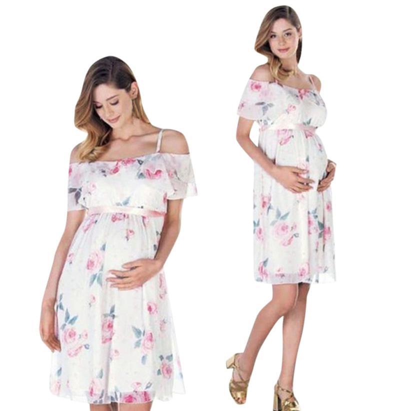 Pregnant Dress Floral Falbala Pregnant Summer Off Shoulder Dress For Maternity Clothes for Pregnant Women 18Jun28