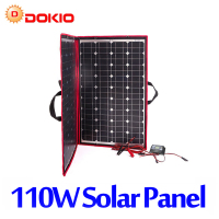 Dokio 90W 100W 110W (55Wx2Pcs) 18V Flexible Black Solar Panels China Foldable + 12/24V Volt Controller 110 Watt Panels Solar