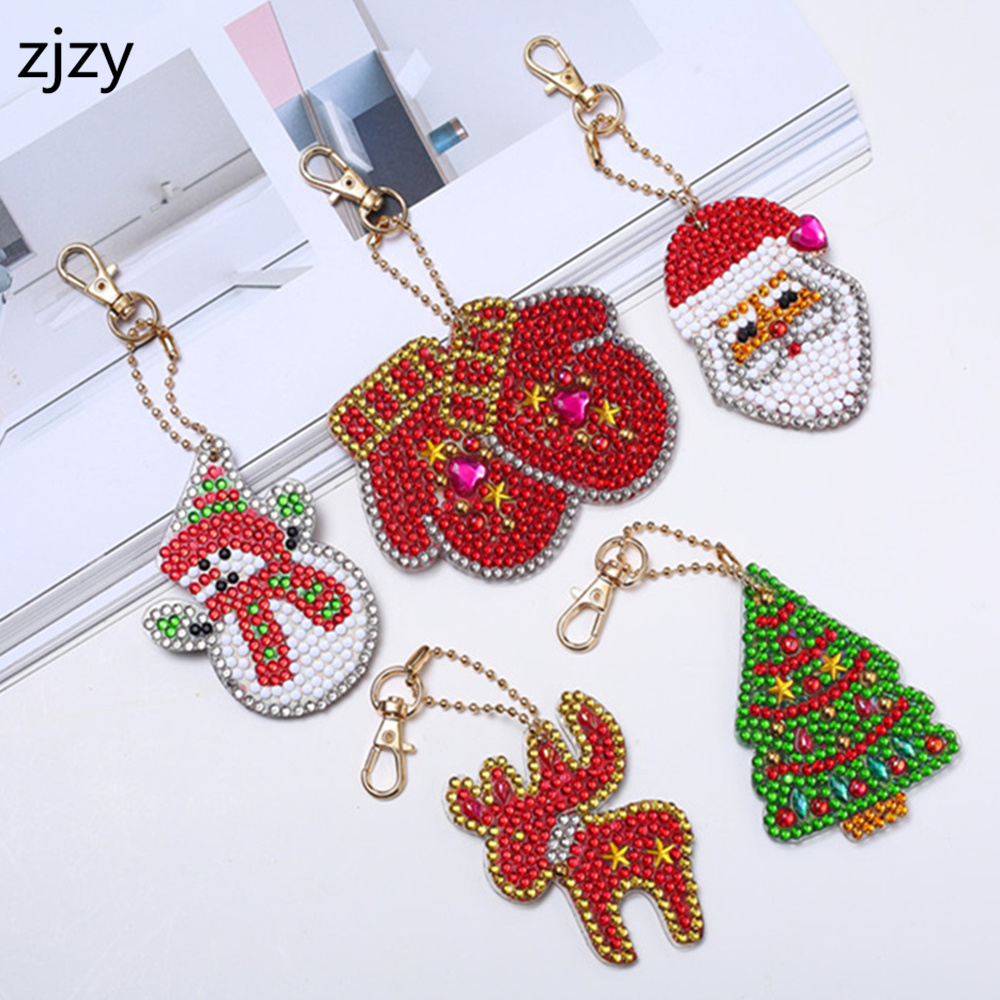 2019 New 5D Diamond Painting Cartoon Keychain DIY Set Diamond Embroidery Mosaic Christmas Gift