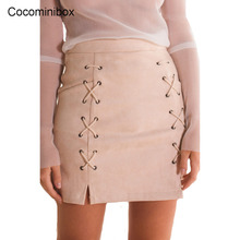 Women Casual Spring Lace Up Suede Office Pencil High Waist Vintage Bodycon Short Zipper Skirt