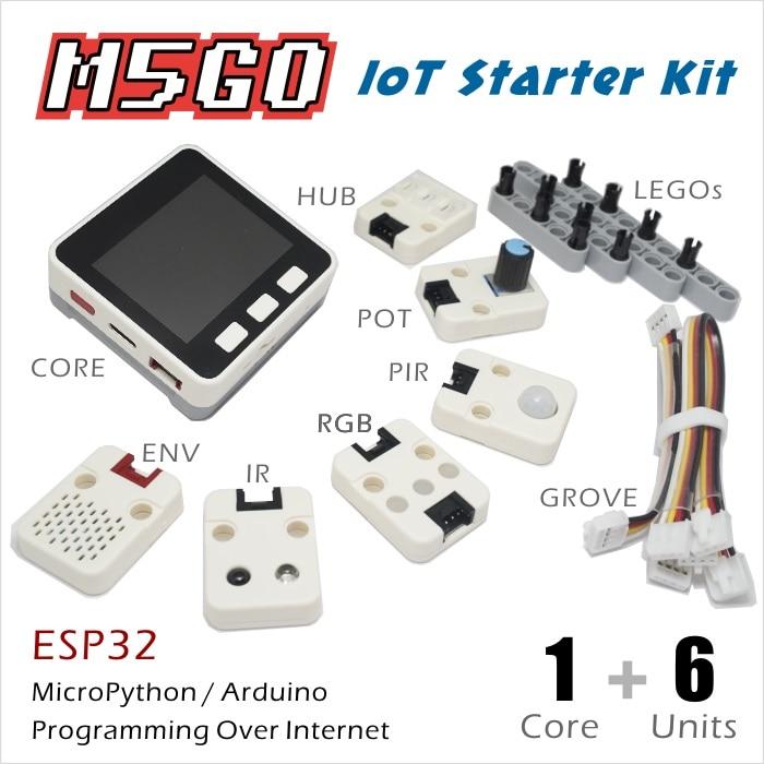 M5Stack Officielles Stock Offre! M5GO IoT Starter Kit ESP32 pour Arduino/MicroPython Programmation Développement IR MIC 600 batterie mah