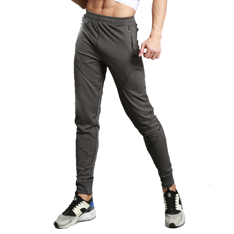 2017 New Men Running Pants Zipper Slim Sports Football Basketball Leggings Training Trousers ...