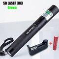 Alta Qualidade 303 Lazer Pointer Apresentador Laser Verde Com Chave de Segurança + 18650 Bateria + 18650 Carregador