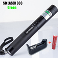 High Quality Green Laser 303 Lazer Pointer Presenter With Safe Key+18650 Battery+18650 Charger