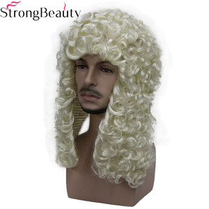Image 2 - StrongBeauty Synthetic Judge Wig Nobleman Curly Hair Historical Blonde Gray Black Wigs