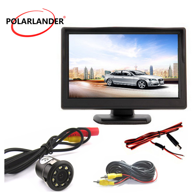 5 Inch TFT Screen With Lamp 18.5mm LED Plug In Rear Camera Parking Monitor HD Desktop Display Reversing Back up