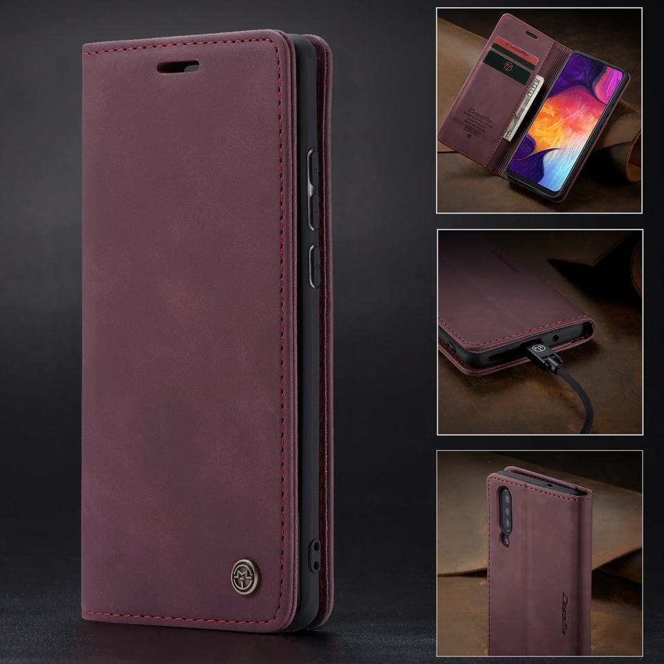 HTB1lGGNa8WD3KVjSZFsq6AqkpXay Luxury Magnetic Flip Leather Case For Samsung A50 A 50 Cases Cover Wallet Card Slots Design Business Vintage Book For Galaxy A50