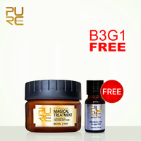Buy 3Pcs get 1pcs Free 5 seconds Repairs damage Restore Soft Hair Treatment Mask and Moroccan Pure Argan Oil Hair Essential Oil