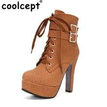 CooLcept Модные женские ботинки ботильоны на высоком каблуке обувь на платформе Брендовая женская обувь Осенне-зимние ботинки для женщин Размеры 30-48