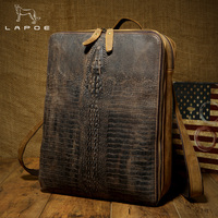 LAPOE crazy horse Genuine Leather Men Alligator Backpack Brand Designer Cowhide Messenger Shoulder Bag Vintage Zipper Bag Male