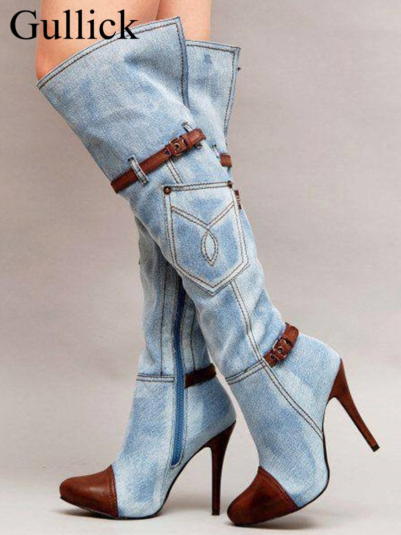 Blue Denim Long Boot Women Brown Leather Patchwork Knee High Boots Pointed Toe Jeans Stiletto Heel Belt Buckle Strap Pocket Boot