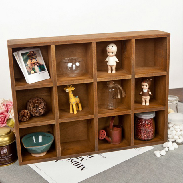 Vintage Pine Wood 12 Cubby 4 Layer Tray Zakka Storage Cabinet Laminated  Organizer Kitchen