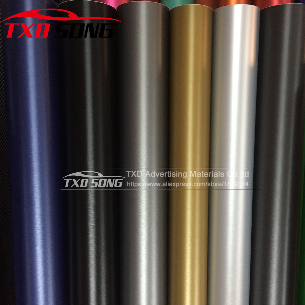 Good quality Matt brushed vinyl sticker Brushed aluminum car sticker with air free bubbles with size 5m to 30m per roll choice 2014 2015 new hot air free bubbles 3d carbon 1 27 30m roll fiber vinyl sticker for mitsubishi skoda toyota motorcycle moble ipod