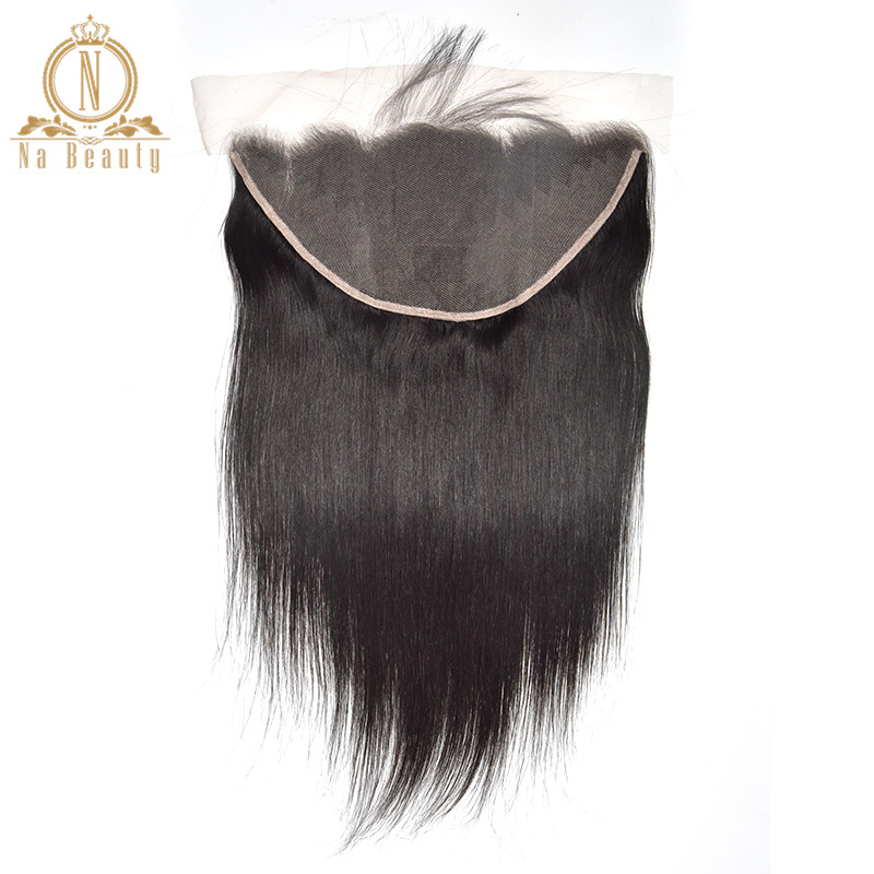 Straight Transparent Lace Frontal 13X6 Ear To Ear Free Part Remy Brazilian Human Hair Clear Lace Closure Natural Black For Women