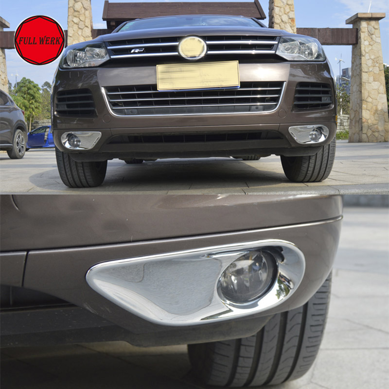 2pcs ABS Chrome Car Front Fog Light Lamp Cover Hoods Trim for VW Touareg 2011 2012 2013 2014 2015 Fog Light Decoration Cap Frame