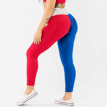 High waist gym leggings sports female fitness yoga pants tights women push high elastic seamless red and blue ve