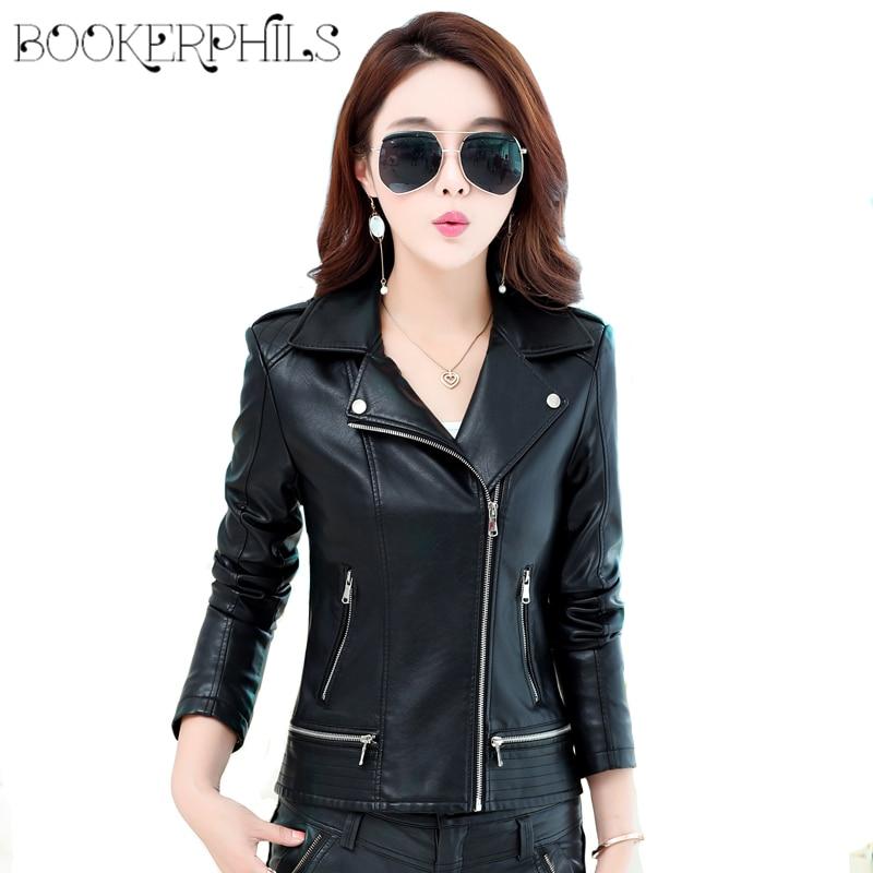 2019 Spring Women   Leather   Coat Female Zipper moto basic jacket Plus Size Autumn Winter Faux   Leather   Women's Outerwear M-4XL