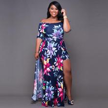 2019 New Yfashion Women Fashion Sexy Summer Digital Printing Boat Neck Collar Split Dress Large Size
