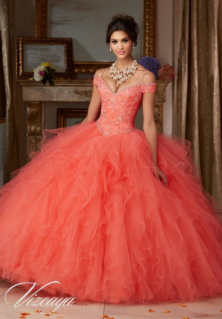 6161d8c47 Organza Lace Beaded Spaghetti Strap Coral Cinderella Ball Gown Quinceanera  Dresses 2016 Sweet 15 Dresses Vestidos