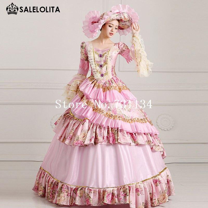 Robe Pink Robes 18th Siècle Light Rose Marie Élégant Antoinette Médiévale Dance Lumière 2016 Party OWn4XqSPw