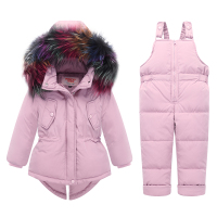 2018 Russian Winter children clothing sets Warm duck down jacket for baby girl children's coat snow wear kids suit Fur Collar