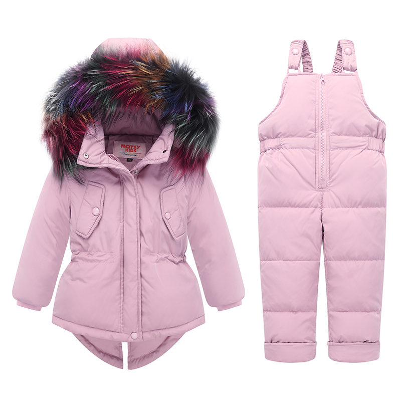 Image 2 - 2019 Russian Winter children clothing sets Warm duck down jacket for baby girl children's coat snow wear kids suit Fur Collar-in Down & Parkas from Mother & Kids