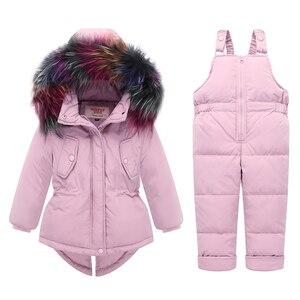 Image 1 - Russo inverno crianças conjuntos de roupas pato quente para baixo jaqueta para o bebê da menina das crianças casaco de neve wear crianças terno gola de pele