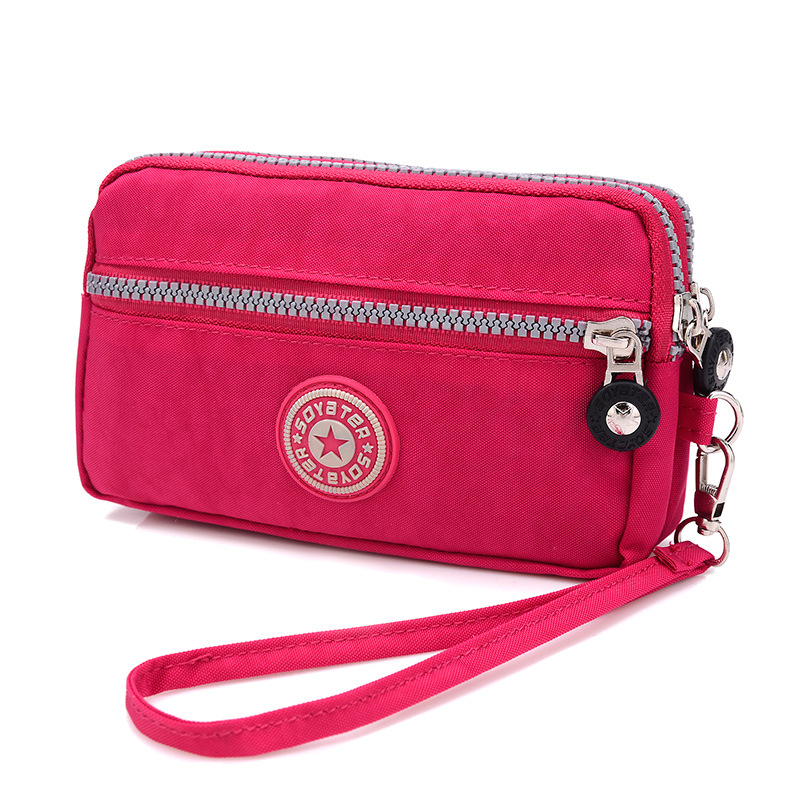 Brand Double Layer Zipper Wallet Wristlet Purses Women Money Bag High Quality Waterproof Nylon Clutches Coin Pocket women wallet purse lady casual zipper wallet handbag brand female wristlet coin purses holders waterproof nylon women clutch bag