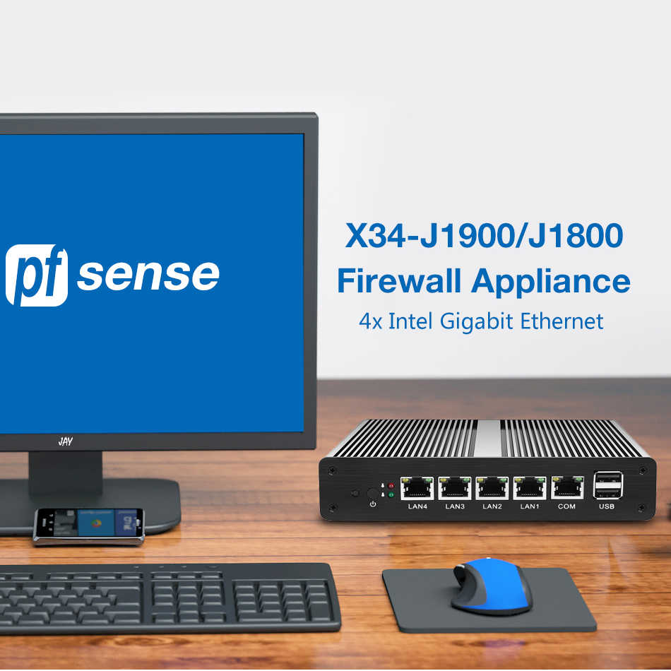 Pfsense Mini PC sin ventilador Intel Celeron J1900 J1800 procesador 4x Intel Gigabit Ethernet, Firewall de Router Mini PC Barebone