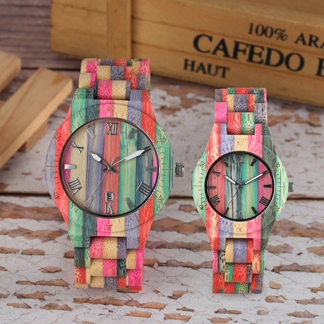 Colorful Handmade Full Wooden Bracelet Luxury Wristwatches