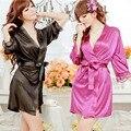 Hot Sexy Lingerie Satin Lace Kimono Intimate Sleepwear Robe Sexy Night Gown women sexy underwear 5 Colors