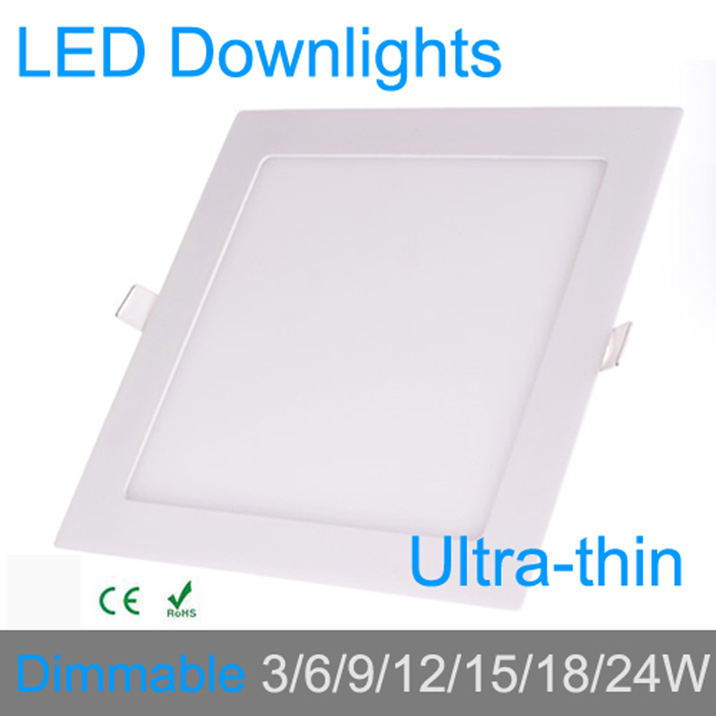 Ultra tynn 3W 6W 9W 12W 15W 18W 24W dimbar LED downlight Firkantet LED-panel / painel lampe 4000K for soverom armatur