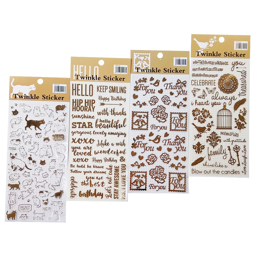1 Pcs/lot Twinkle Stickers Vintage Gold Foil Sticker Decoration For Diary Phone Frame Cute Cat Stationery School Supplies
